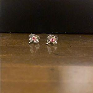 Kids Pink Gem Dragonfly Stud Earrings
